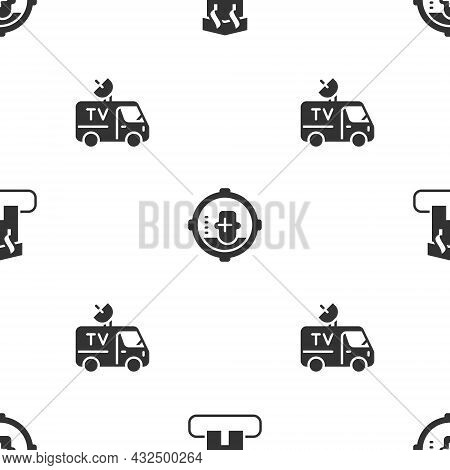 Set Arson Home, Headshot And Tv News Car On Seamless Pattern. Vector