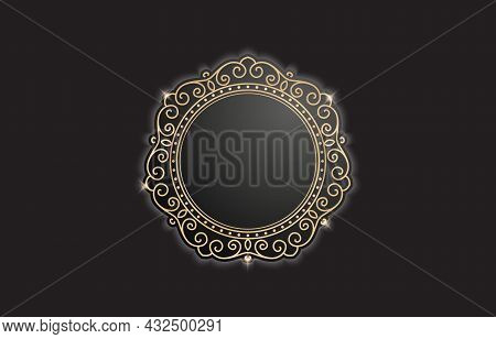 Circle Gold Frame Border With Ornament Pattern. Ellipse Frame Swirl Elements With Color Gold Isolate