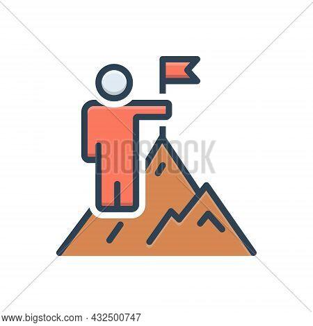 Color Illustration Icon For Overcoming Win Vanquish Conquer Achievement Cliff Adventure Successful M
