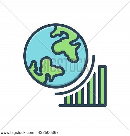 Color Illustration Icon For Globel-progress Growth Achieve Achievement Analyst Success Progress Grap