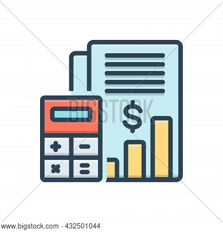 Color Illustration Icon For Budget-accounting Budget Bank Money Cash Currency Finance Management Cal