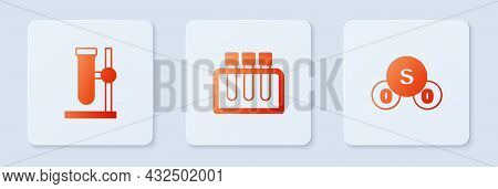 Set Test Tube, Flask On Stand And Sulfur Dioxide So2. White Square Button. Vector