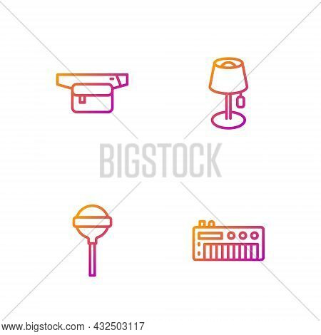 Set Line Music Synthesizer, Lollipop, Waist Bag Of Banana And Floor Lamp. Gradient Color Icons. Vect
