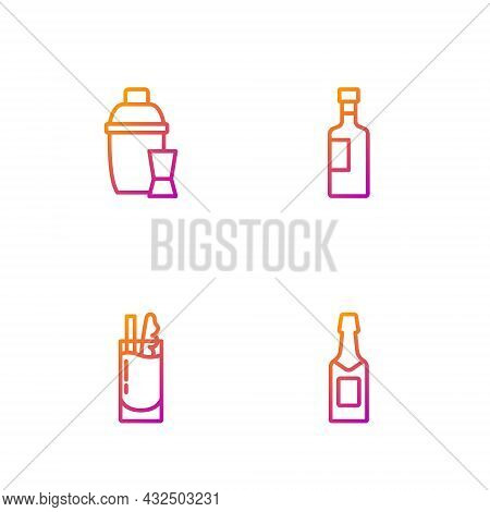 Set Line Champagne Bottle, Cocktail Bloody Mary, Shaker And Wine. Gradient Color Icons. Vector