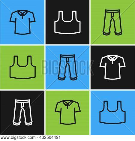 Set Line Shirt, Pants And Undershirt Icon. Vector