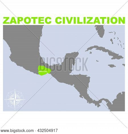 Vector Map With Historic Area Of Zapotec Civilization For Your Project