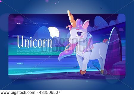 Cute Unicorn At Night Ocean Shore Cartoon Landing Page, Little Baby Pony With Horn And Rainbow Mane