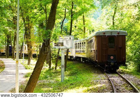 Kyiv, Ukraine-august 22, 2021:children's Train On The Curve Track In Park In Beautiful Sunny Day. Ky