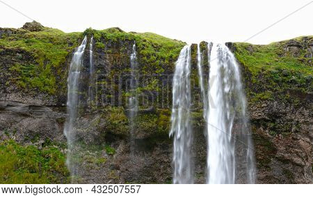 Seljalandsfoss Is One Of The Best Known Waterfalls In Iceland. The Waterfall Drops 60 Meters And Is