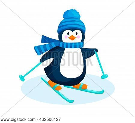 Penguin In A Hat And Scarfgoes Skiing In Winter.. Cute Penguin On Snow Is Isolated On White Backgrou