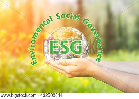 Esg Modernization Environmental Social Governance Conservation And Csr Policy. Planet Earth In Hands