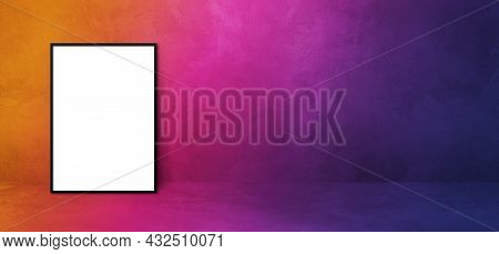 Black Picture Frame Leaning On A Purple Wall. Blank Mockup Gradient Template. Horizontal Banner