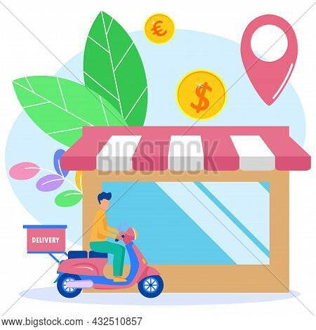 Flat Style Vector Illustration. Buy Online. The Courier On The Scooter Sends The Package Box. Smartp