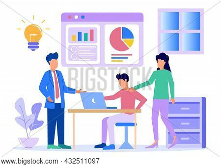Flat Design Style Vector Illustration. Coworking Space With Discussions Of Creative People In The Of