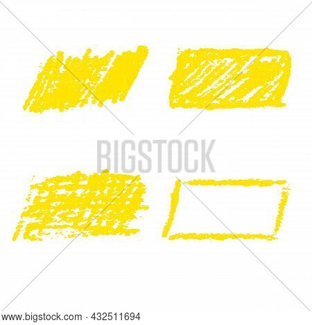 Yellow Marker Pen Highlighter Elements. Vector Illustration