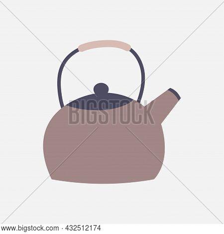 Kettle Icon, Tea Kettle. Kitchen Equipment. Vector Illustration, Isolated On White Background.