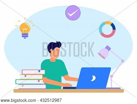 Flat Style Vector Illustration. Boys Keep A Journal Or Diary. Teenage Boys Study At Home With Their