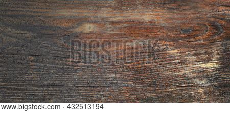 Close Up Horizontal Banner Dark Old Dilapidated Board, Rustic Style Wall, Brown Table Top, Time Crac