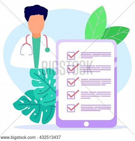 Vector Illustration Of A Health Concept. Medical Centers, Clinics, Doctors Examining Patients, Medic