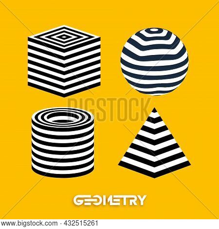 Optical Illusion Geometric Figures On Yellow Background Vector Set. Pyramid Striped. Cylinder And Cu