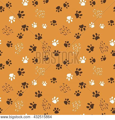 Seamless Pattern Of Dogs, Cats Or Tigers Paws. Hand Drawn Vector Illustration On Yellow Background W