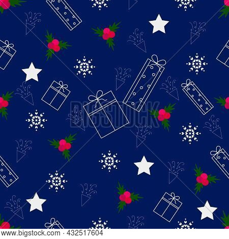 Seamless Pattern. Happy New Year And Merry Christmas Concept. Gift Box, White Star, Red Mistletoe, S