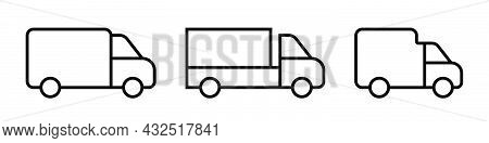 Delivery Lorry. Shipping Van Icons Set. Courier Transport. Outline Lorry Icons Set. Delivery Symbol