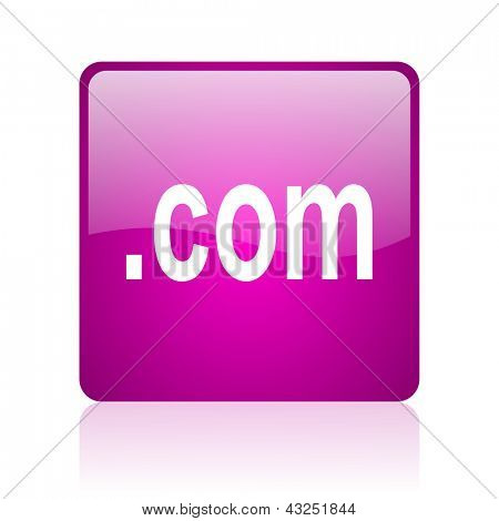 com violet square web glossy icon