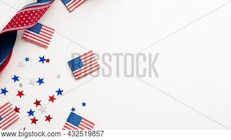 Columbus Day Card, Poster, Background. Flat Lay Composition With United States Decorations And Ribbo