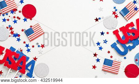 Usa Holiday Decorations Frame On White Background Flat Lay. Independence Day, American Labor Day, Us