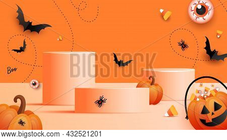 Happy Halloween Festive Product Display Podium With Scary Pumpkin Face, Spider Web And Spider Decora