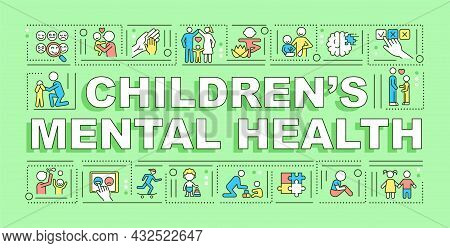 Children Mental Health Word Concepts Banner. Emotional Development. Infographics With Linear Icons O