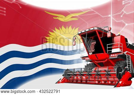 Digital Industrial 3d Illustration Of Red Advanced Rye Combine Harvester On Kiribati Flag - Agricult