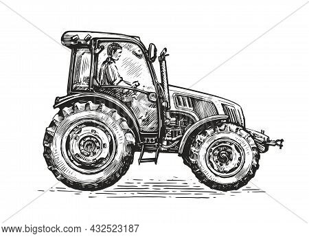 Farmer Working On Tractor. Farm, Agriculture Vector Concept. Hand Drawn Sketch In Vintage Graphic St