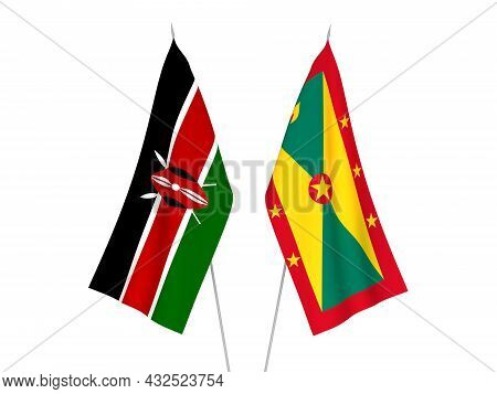 National Fabric Flags Of Kenya And Grenada Isolated On White Background. 3d Rendering Illustration.