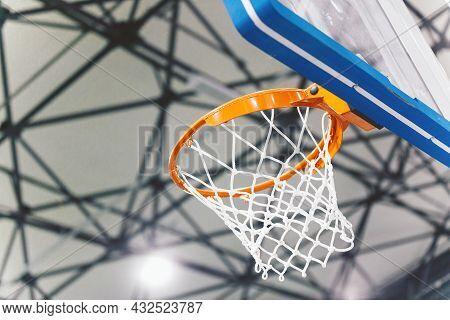 Basketball Basket At A Sports Arena. Scoring The Winning Points At A Basketball Game. Basketball Are