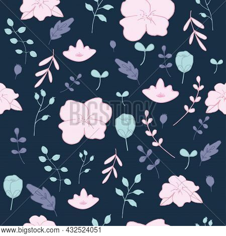 Hand Drawn Flowers, Plants And Leaves, Botanical Seamless Pattern Vector Design For Fashion,fabric,w