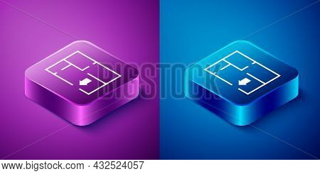 Isometric Evacuation Plan Icon Isolated On Blue And Purple Background. Fire Escape Plan. Square Butt