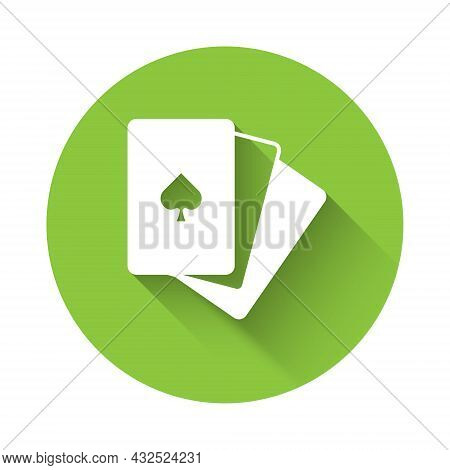 White Deck Of Playing Cards Icon Isolated With Long Shadow. Casino Gambling. Green Circle Button. Ve