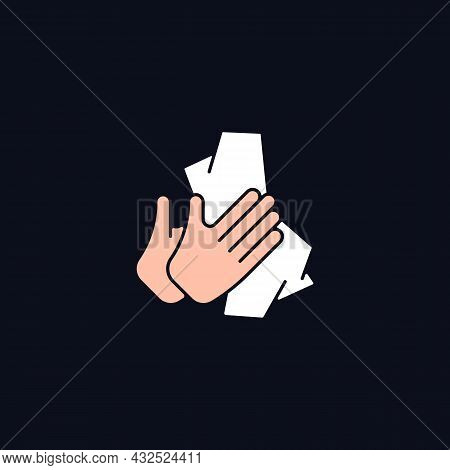 Dry Hands With Tissue Rgb Color Icon For Dark Theme. Wiping Off Dirt From Palms. Using Antibacterial