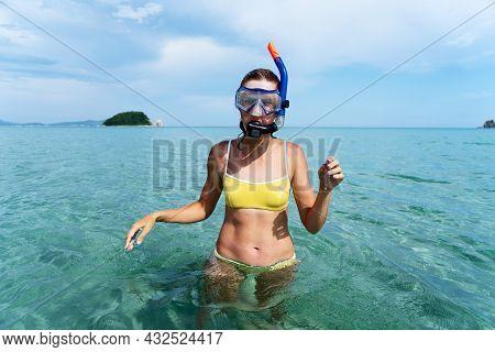 Portrait Woman Posing In Diver Snorkeler Mask At Sea Water Beach Tropical Resort