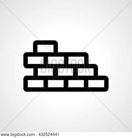 Brick Wall Vector Line Icon. Brick Wall Linear Outline Icon.