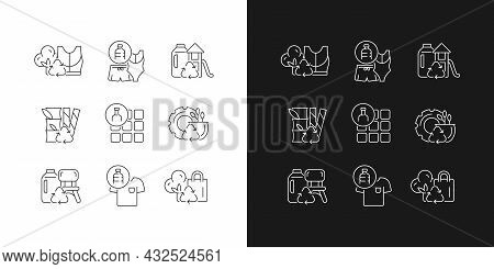 Natural Resources Conservation Linear Icons Set For Dark And Light Mode. Reuse Plastic Products. Zer
