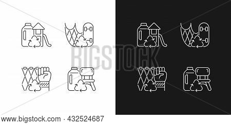 Recycling For Sustainability Linear Icons Set For Dark And Light Mode. Fishing Gear Reuse. Plastic L