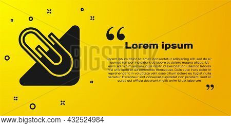 Black Paper Clip Icon Isolated On Yellow Background. Vector