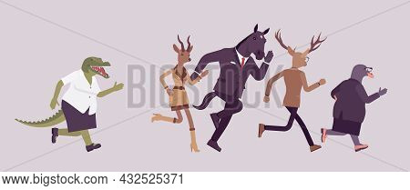 Animal Crocodile Chasing In Anger Deer, Roe, Gull And Horse. Pursue To Catch, Angry Crying Business