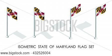 Isometric Flag Of American State Of Maryland In Static Position And In Motion On Flagpole. 3d Vector