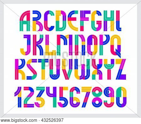 Children Colorful Geometric Font Vector Alphabet, Kid Play Game Typeset, Original Letters Can Be Use