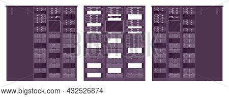 Server Rack Black Cabinet Structure, Technical It Equipment. Device To Hold, Organize, Supporting Fr