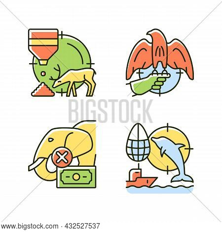Illegal Hunting Rgb Color Icons Set. Bait Hunting. Falconry. Dolphin And Elephant Cruel Hunt. Unlawf